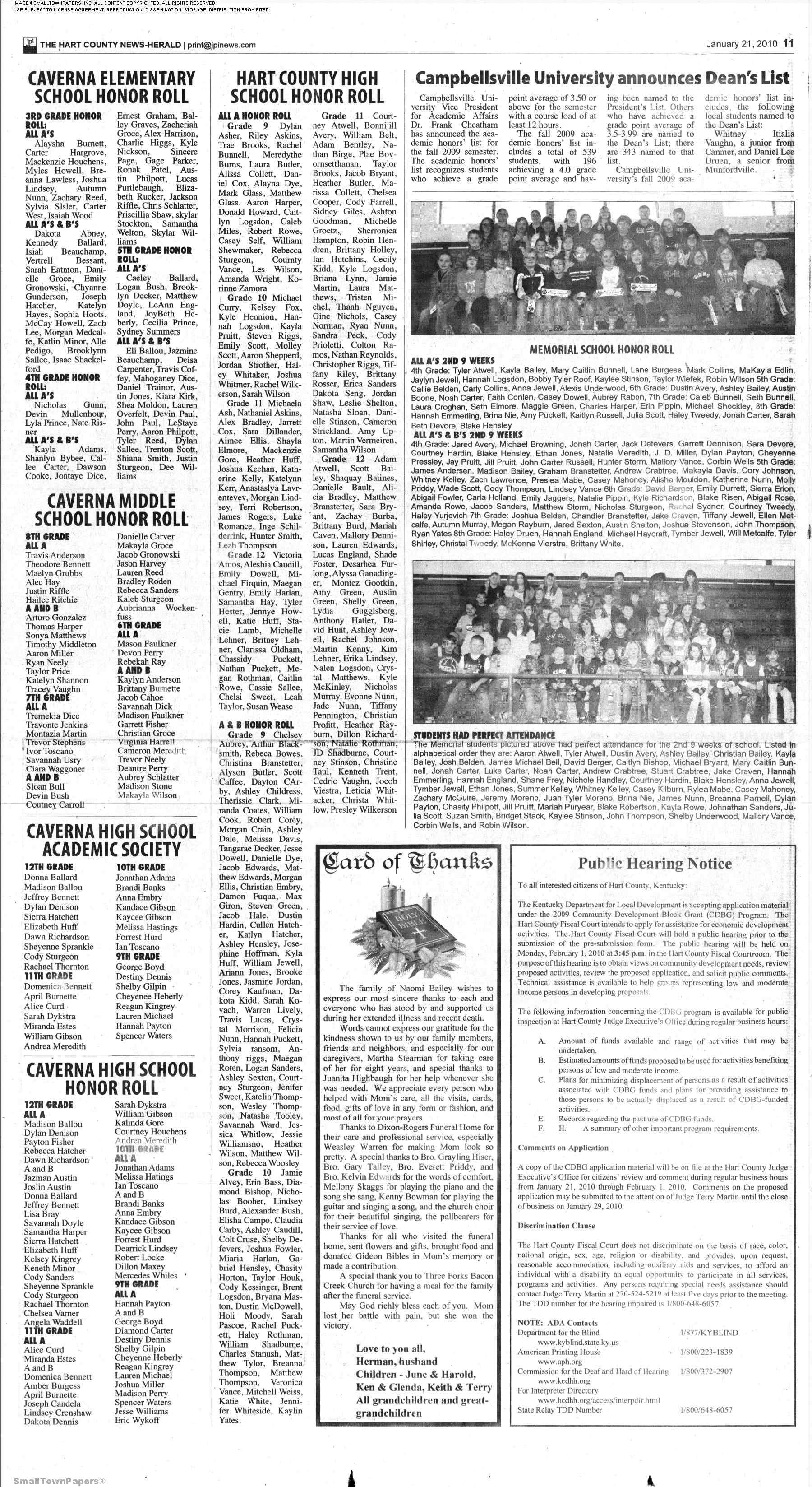 Hart Countys Newspaper News Herald January 21 2010 Page 11
